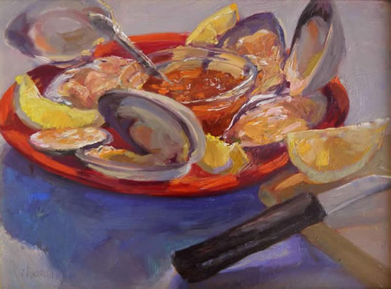 Quahogs, oil on mounted canvas, 9 x 12 inches  SOLD