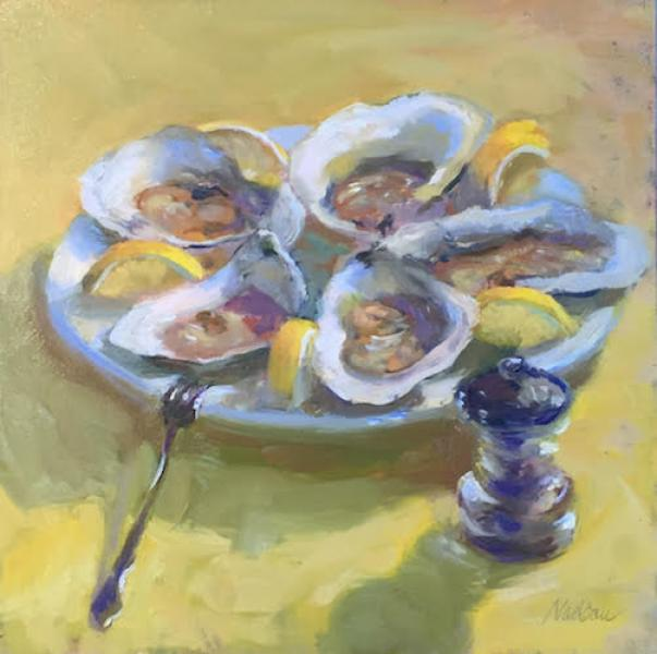 Oyster Appeal, oil on mounted canvas, 12 x 12 inches  SOLD