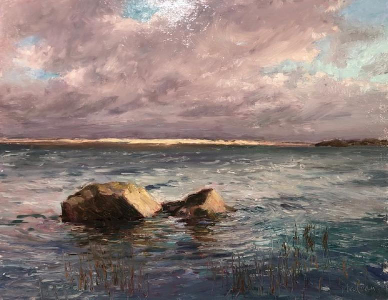 Gale Force Winds, oil on mounted linen, 14 x 18 inches, $1,800