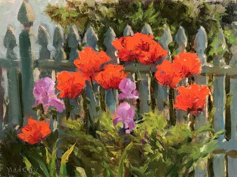 Poppies and Pickett, oil on mounted linen, 9 x 12 inches, $900