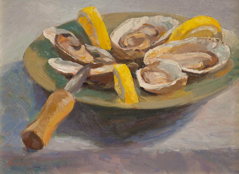 Oyster Pinwheel , oil on mounted canvas, 9 x 12 inches  SOLD