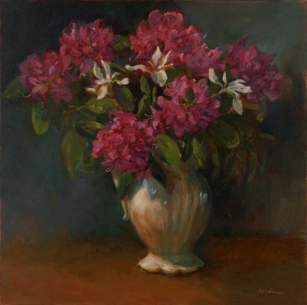Rhodies, oil on mounted canvas, 24 x 24 inches, $4,200