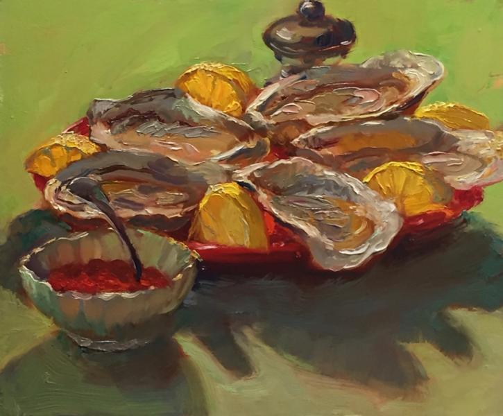 With Lemon on Lime, oil on wood, 10 x 12 inches, $1,000