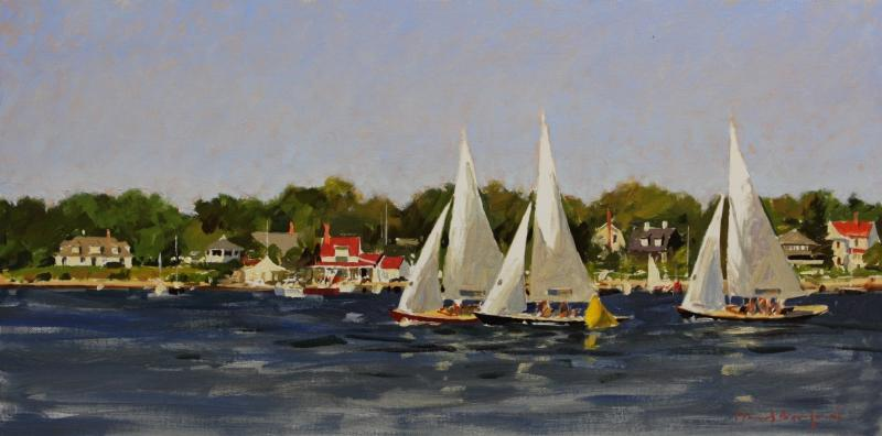 Bluenose Racing off Chester, NS  2, oil on panel, 12 x 24 inches, $5,500