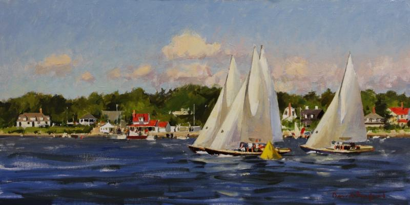 Bluenose Racing off Chester, NS, oil on panel, 12 x 24 inches, $5,500