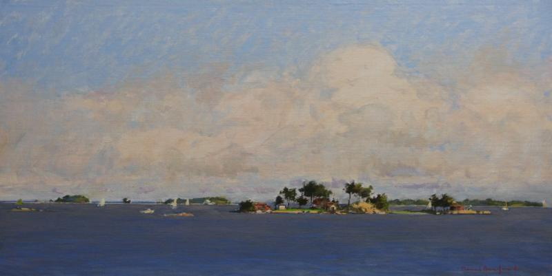 Passage through the Norwalk Islands, oil on panel, 18 x 36 inches, $12,500