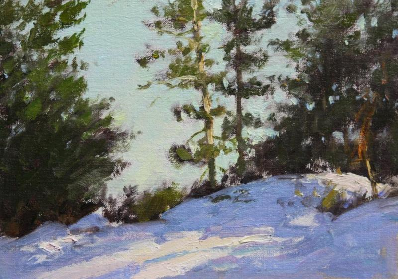 Winter Light, oil on panel, 5 x 7 inches, $1,250