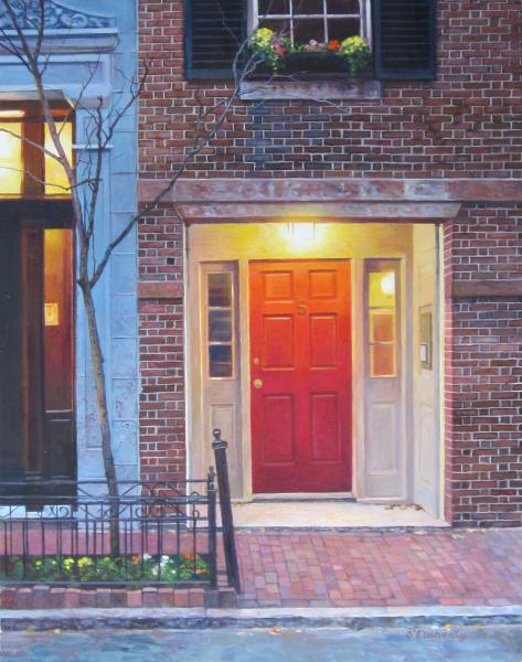 Early Morning, #5 Myrtle Street (Beacon Hill), egg tempera on clay board, 11 x 14  SOLD