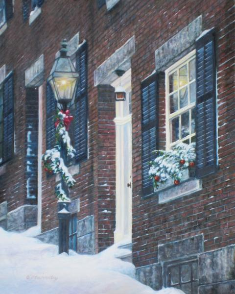 Holiday Morning- Beacon Hill, oil on panel, 8 x 10 inches  SOLD