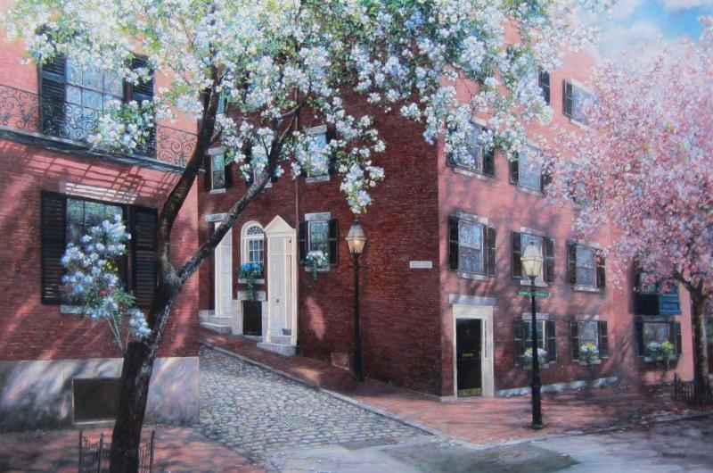 Color Burst (Acorn and Cedar, Beacon Hill), oil on panel, 24 x 36 inches  SOLD