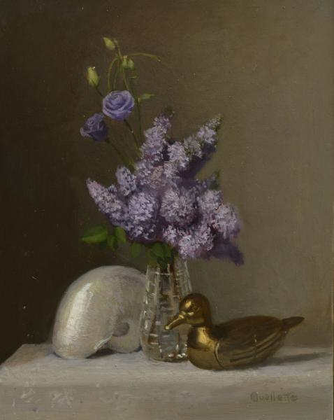 Still Life with Lilacs and Nautilus Shell, oil on canvas, 10 x 8 inches, $2,200