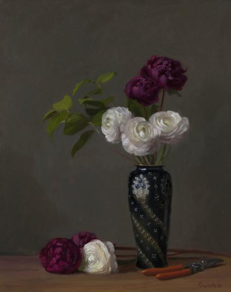 Peonies and Persian Buttercups in a Doulton Vase, oil on linen, 20 x 16 inches, $4,400