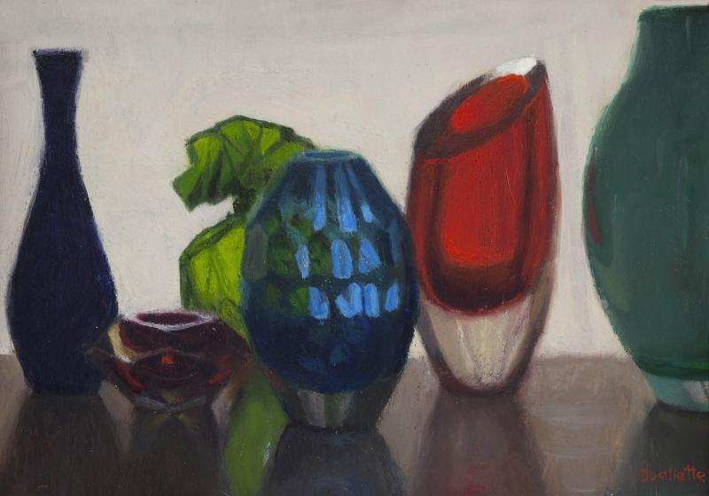 Glass Vases II, oil on panel, 5 x 7 inches, $1,250