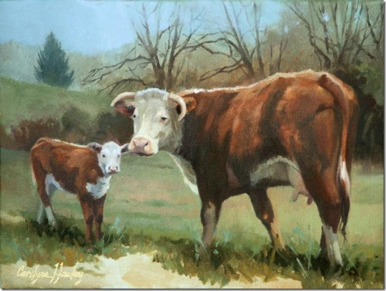 The Spring Calf , oil on canvas, 12 x 16 inches, $2,550