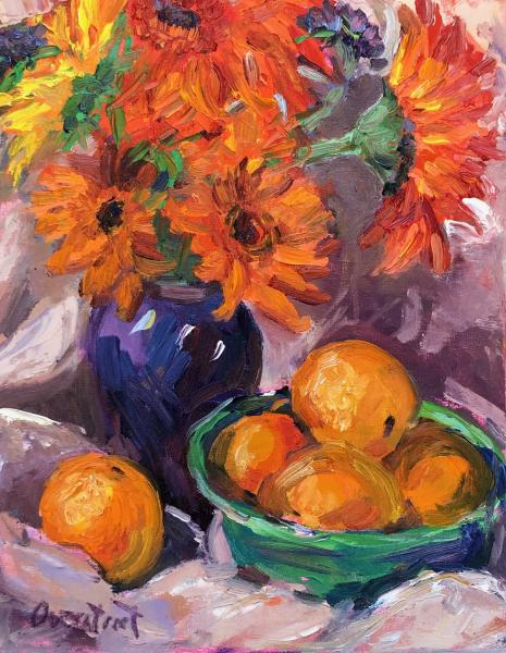 Oranges with flowers