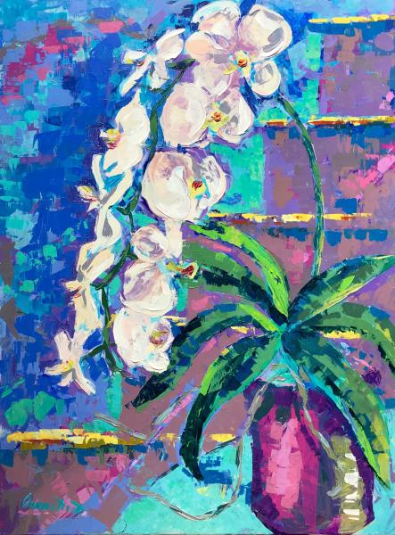 Orchid Cascade, Acrylic on Canvas, 40 x 30 inches, $3,000