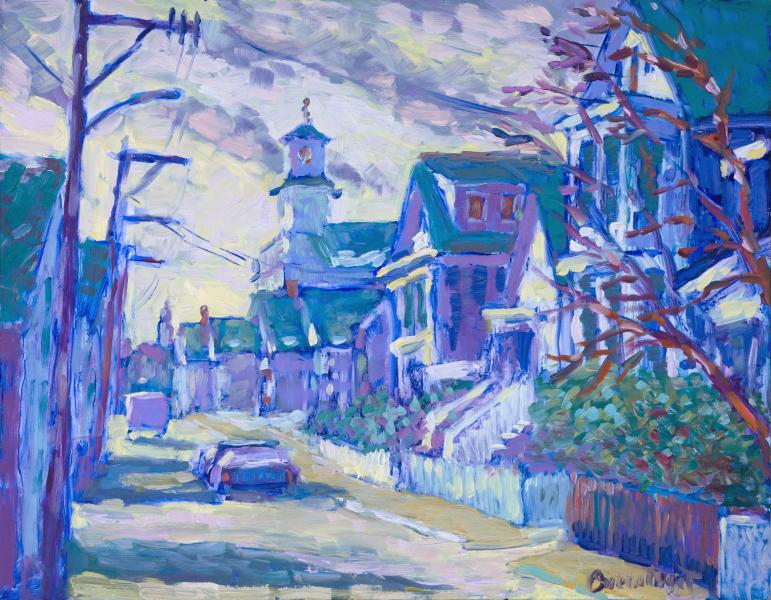 Winter on Commercial Street, Provincetown, Oil on Canvas, 11 x 14 inches, $800