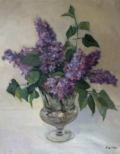 Cut Lilacs in Glass, oil on canvas panel, 20 x 16 inches, $3,000