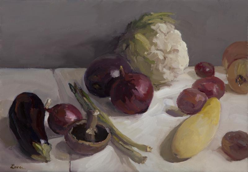 Vegetables, oil on canvas, 14 x 20 inches, $2,500