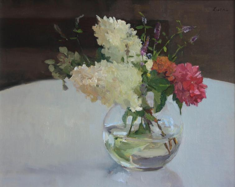 Hydrangea in Round Glass, oil on canvas, 16 x 20 inches, $2,800