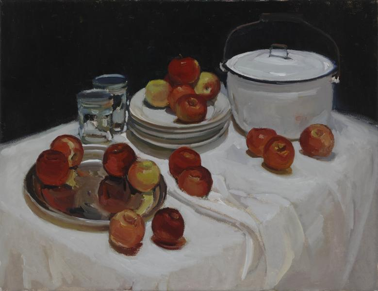 Makings for Applesauce, oil on canvas, 20 x 26 inches, $3,000