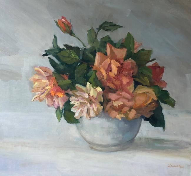 Orange Roses, oil on canvas panel, 16 x 17 inches, $2,500