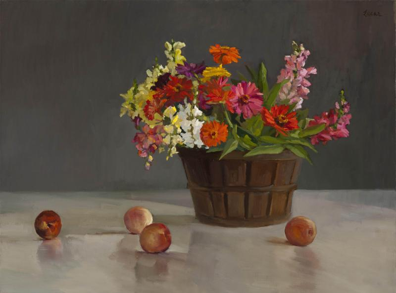 Zinnias, Snapdragons and Fruit, oil on canvas, 30 x 40 inches, $6,000