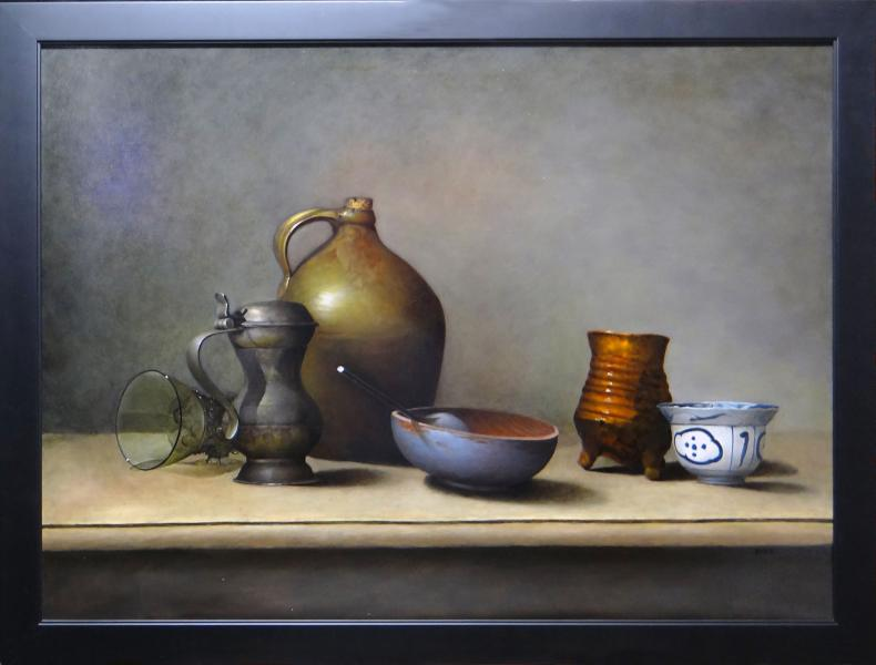 Still Life with Artist's Props, oil on linen panel, 25 x 34 inches, $ 5,000