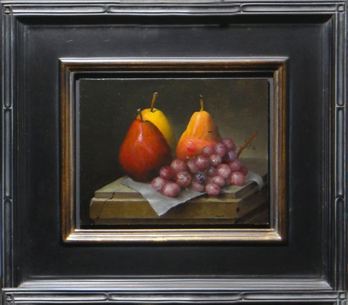 Podium , Pear and Grapes, oil on linen panel, 7 x 9 inches, $1,200