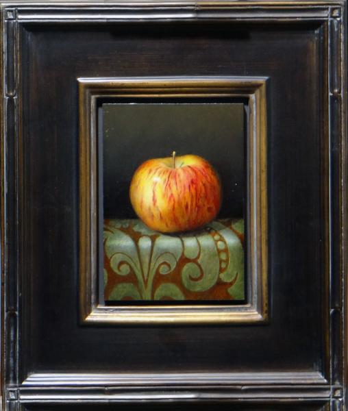 Apple on Table Cloth, oil on linen panel, 7 x 5 inches, $1,000