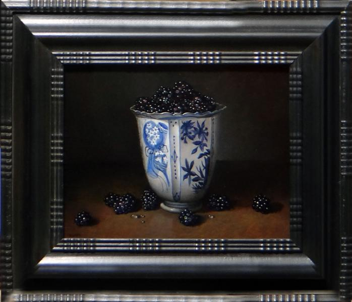 Chinese Kraak Porcelain with Berries, oil on linen panel, 7 x 9 inches, $$ Please Inquire