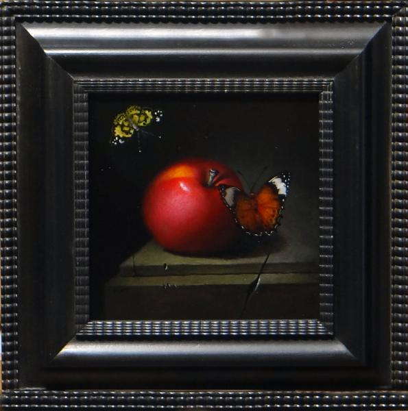 An Apple and Two Butterflies, oil on panel, 6 x 6 inches, $1,100