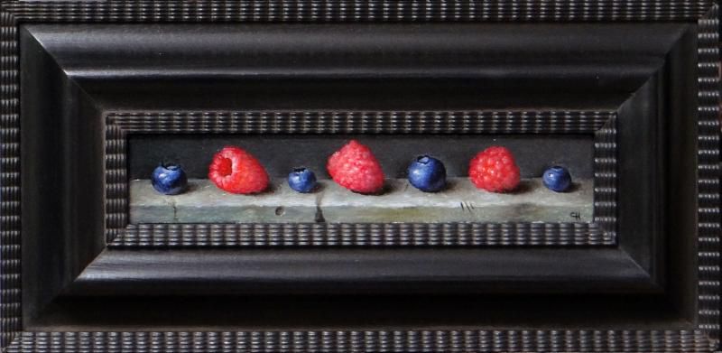 Raspberries & Blueberries, oil on linen panel, 1.5 x 8 inches, $700
