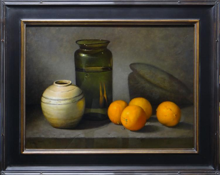 Hand Blown Bottle, Ming Ginger Jar and Oranges, oil on linen panel, 18 x 24 inches, $4,000