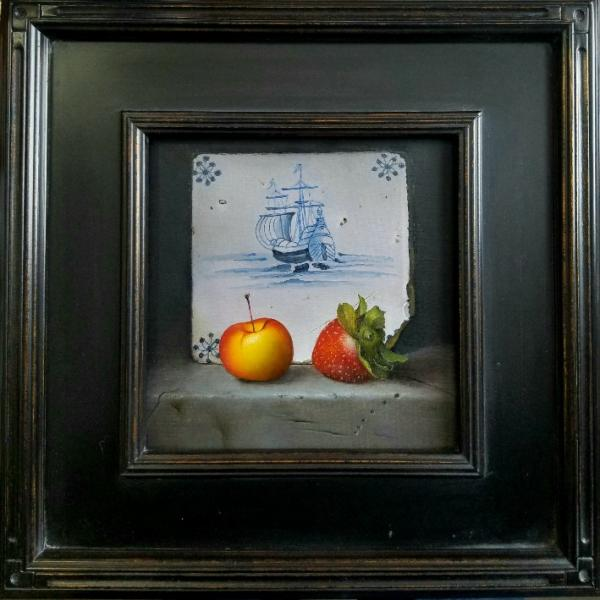 Voyage of the Lady and the Strawberry, oil on panel, 8 x 8 inches, $1,300