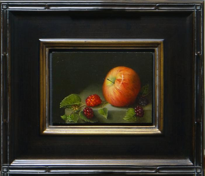 An Apple with Berries, oil on linen panel, 5 x 7 inches, $1,000