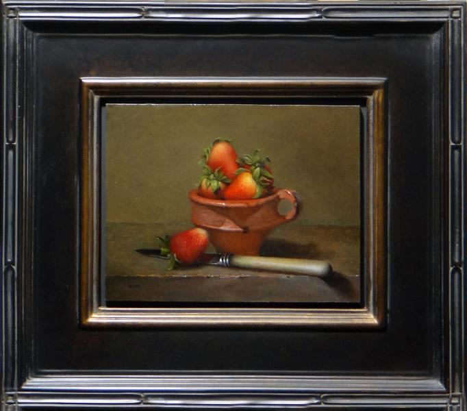 Strawberries in Dutch Market Berry Cup with Knife, oil on linen panel, 7 x 9 inches, $1,200