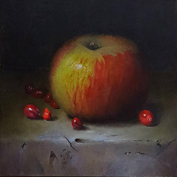 Cranapple, oil on panel, 6 x 6 inches  SOLD