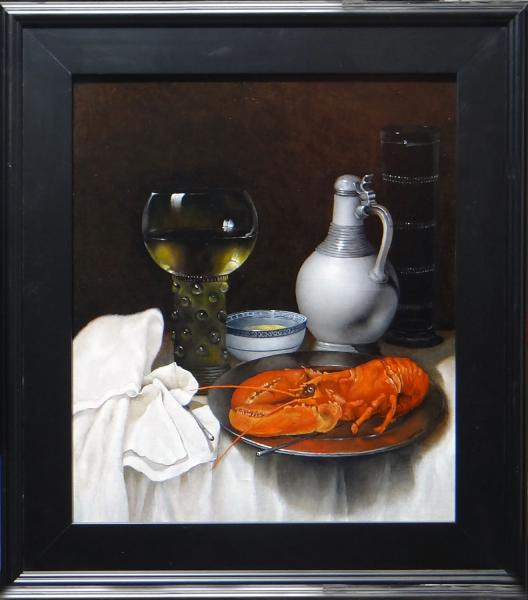 A Lobster Still Life, oil on linen panel, 15.75 x 18.75 inches, $3,000