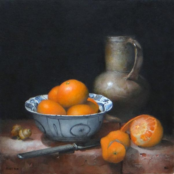 Stoneware Meets Porcelain, oil on panel, 12 x 12 inches  SOLD