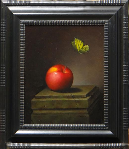 Decending Butterfly with Apple, oil on linen panel, 10 x 8 inches, $1,300