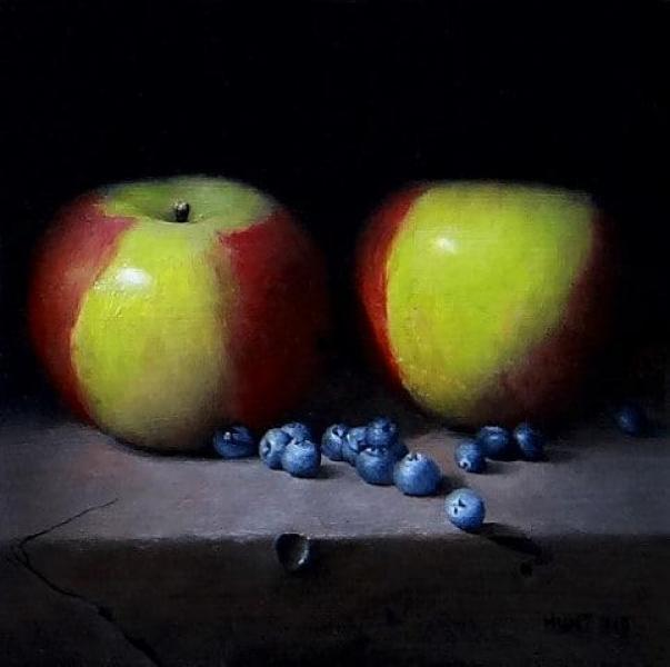 Apples and Blueberries, oil on panel, 9 x 12 inches, $1,400
