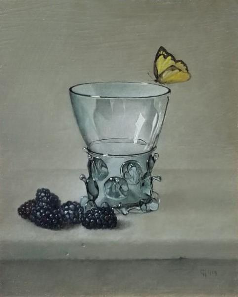 Berkemeyer, Blackberries and Butterfly, oil on panel, 10 x 8 inches  SOLD
