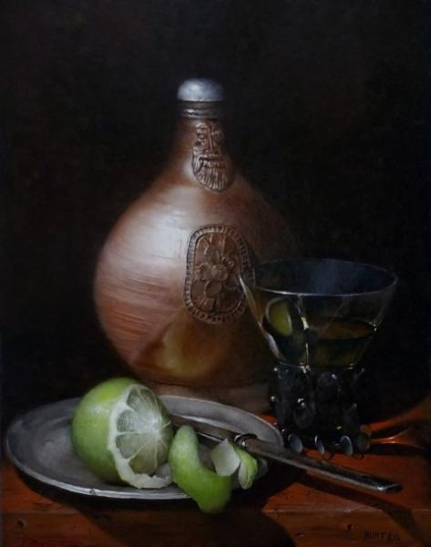 Berkemeyer, Bartmann and Lime, oil on panel, 14 x 11 inches, $2,000