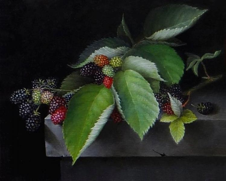 Blackberries, oil on panel, 8 x 10 inches  SOLD