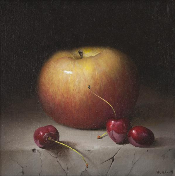 Apples with Cherries, oil on panel, 7 x 7 inches  SOLD
