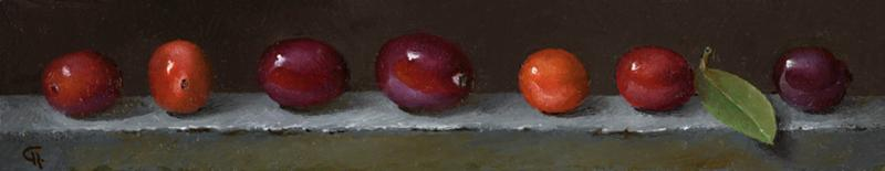 Cape Cod Cranberries, oil on panel, 1.5 x 8 inches, $550