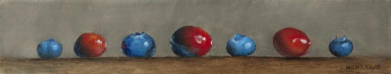 Crans and Blues, oil on panel, 2 x 9 inches  SOLD