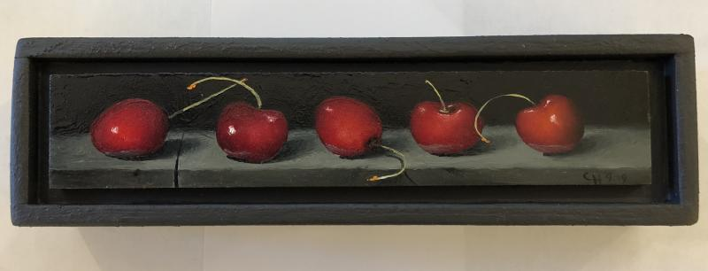 Dueling Cherries, oil on panel, 1.5 x 8 inches, $550