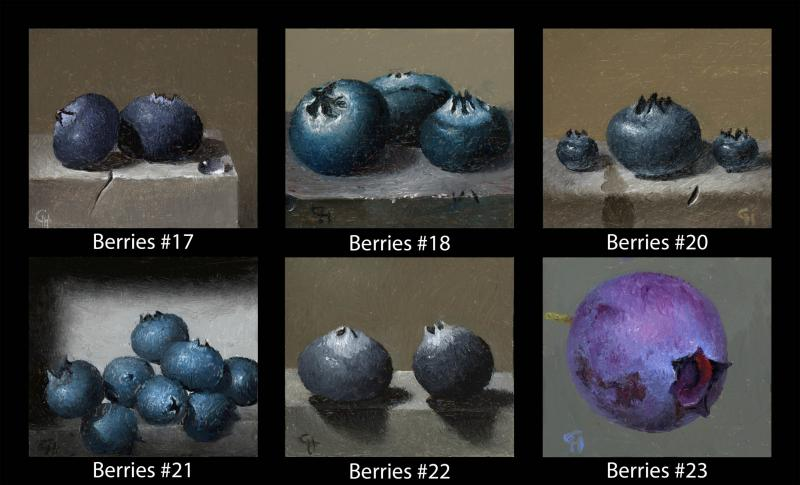 Berries (#17 to #23), oil on panel, 1.5 x 1.75 inches, $200 (per cube)
